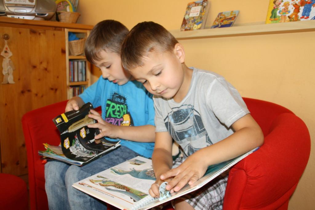 Kinder beim Anschauen von Bilderbüchern