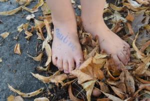 Füße draußen im Freien