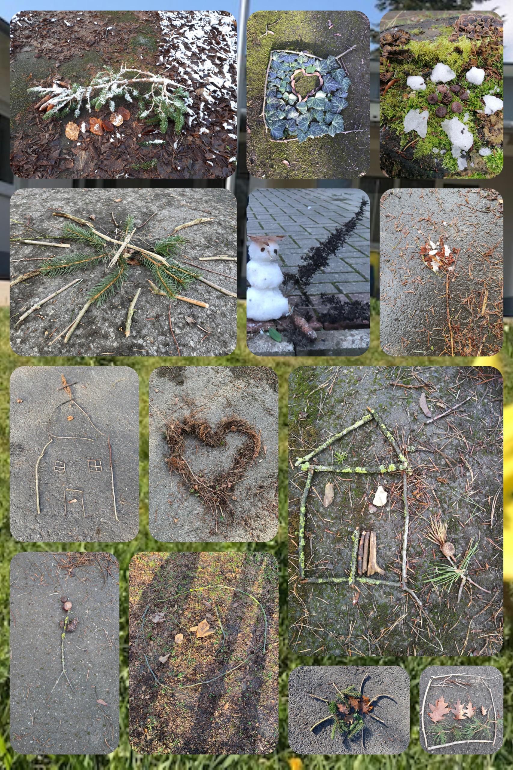 Collage aus Bilder mit Naturmaterialien